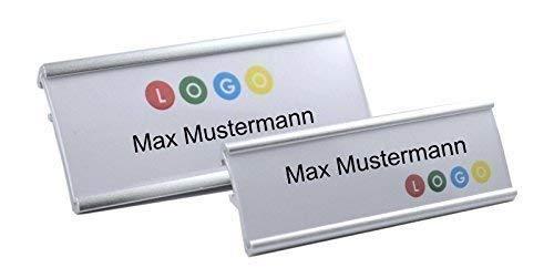 10 Unidades Aluminio Placas Identificativas Color Plata Anodizado de Metal,Talla 65x22 mm o 72x32 mm,con Aguja / Clip,Nombre Divisa,Credencial para Ropa Autorrotulable Identificativas / Clip Metal