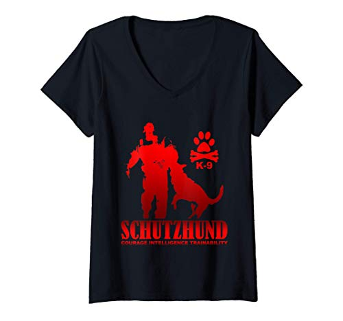 Mujer Capacitación de Schutzhund Courage Intelligence Camiseta Cuello V