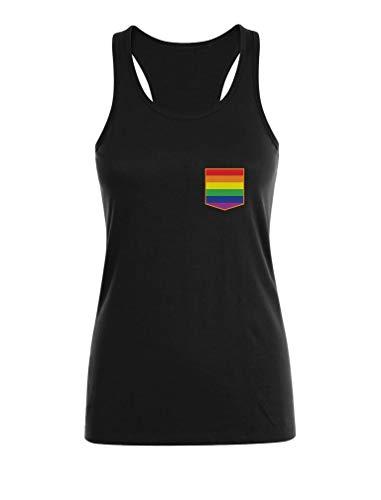 Camiseta sin Mangas para Mujer - Ropa LGTB Orgullo Pride Gay Rainbow Bandera Gay Medium Negro
