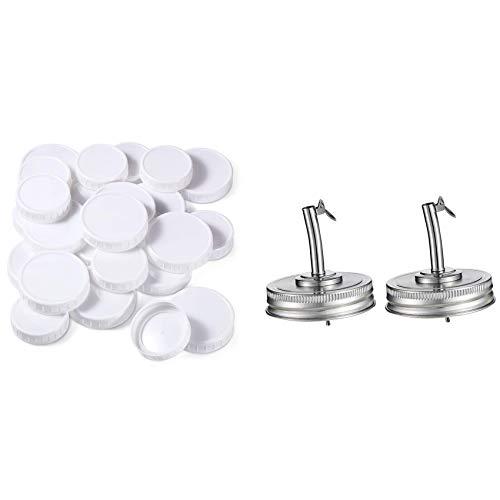 Cuasting 20 tapas de plástico para tarros de masón y 2 tapas de boquilla de aceite para tarro con tapas compatibles con Mason Jar
