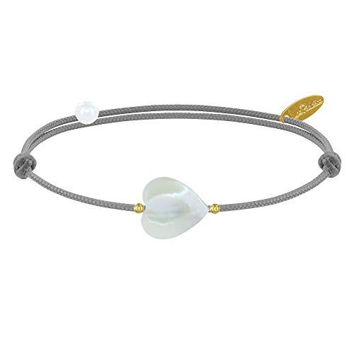 Les Poulettes Bijoux - Bracelet Petit Coeur de Nacre et Perle Plaqué Or - Classics - Gris Clair