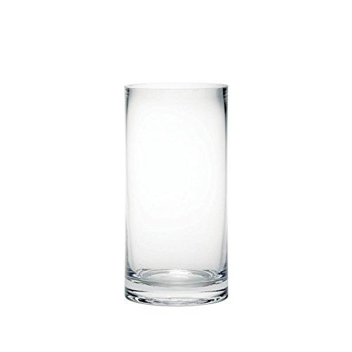 Blumenvase aus klarem Glas, Zylinderform, 20 cm hoch
