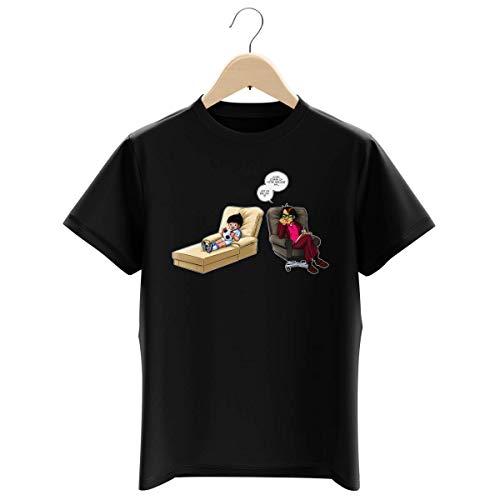 T-Shirt Enfant Garçon Noir Parodie Olive et Tom - Captain Tsubasa - Olivier Atone - Son Meilleur ami.!? (T-Shirt Enfant de qualité Premium de Taille 5-6 Ans - imprimé en France)