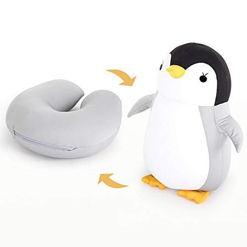 Haooyeah Reißverschluss- und Flip-Pinguin-Kopfstütze-Reise-Nackenkissen U-förmiges Kissen, für Flugzeugauto-Zug nach Hause Mehrzweck-neuartiges Plüschtier