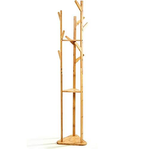 bambuswald© umweltfreundlicher Kleiderständer aus 100% Bambus ca. 166x32,5cm mit Ablageregalen - Garderobenständer mit separaten Haken & Platz für Accessoires | Schlafzimmer Flur Büro Ankleidezimmer