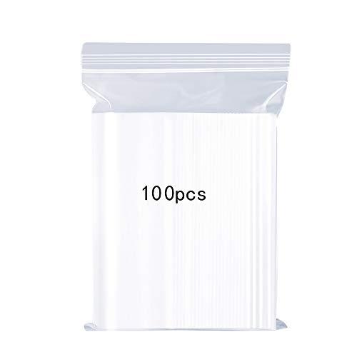 Wiederverschließbare Klare Plastikbeutel, Starke Wiederverwendbare Zip-Lock-Tasche Verdickung und Langlebig, Drücken um zu Schließen 12x17cm Gelten Küche Lagerung Schmuck Verpackung Shopper 100PCS