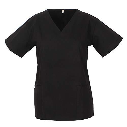 MISEMIYA - Casaca Mujer Cuello REFORMADO Manga Corta Uniforme Laboral CLINICA Hospital Limpieza Médico Enfermera - Ref.Q818