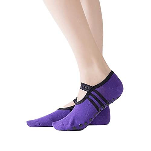 WJCCY 2020 Yoga Pilates Ballet Calcetines Danza Calcetín Moda Mujeres Transpirable Open Toalless Cocks Cocks Cocks Anti Slip Atleta Sock Sock (Color : Purple, Size : (Can Wear Within 40 Yards))