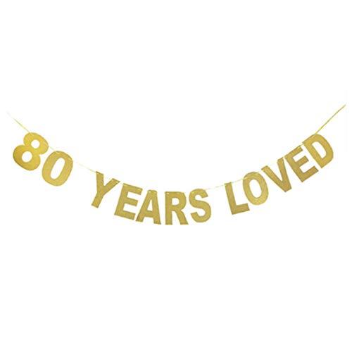 JUSTDOLIFE verjaardagsfeestje banner 60. 70. 80. Jaar geliefde brief Banner Eén maat 80 uur.