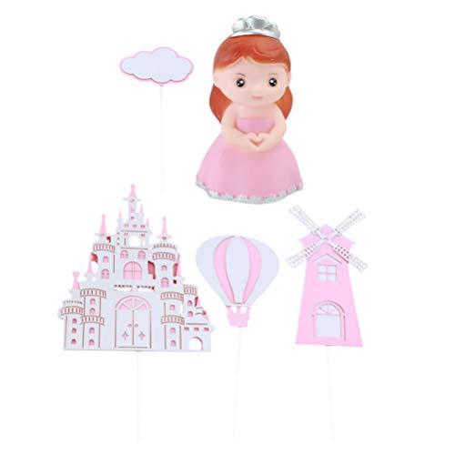 PRETYZOOM 5 Piezas de Decoración para Tarta de Cumpleaños para Niñas Globos de Castillo de Princesa Decoración para Tarta de Nube para Cumpleaños Baby Shower Fiesta Favor (Rosa)