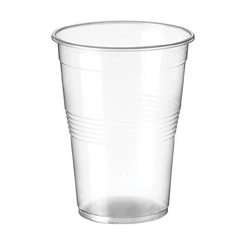 TELEVASO - 500 uds - Vaso de plástico color transparente, de polipropileno (PP) - Capacidad de 1000 ml - Desechables y reciclables - Ideal para bebidas frías como agua, refresco, zumos, cerveza