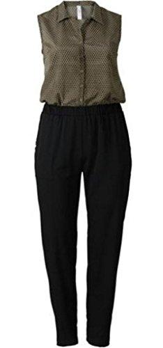 Sheego Overall Jumpsuit Einteiler Gr. 46 48 50 52 54 56 58 schwarz/Oliv