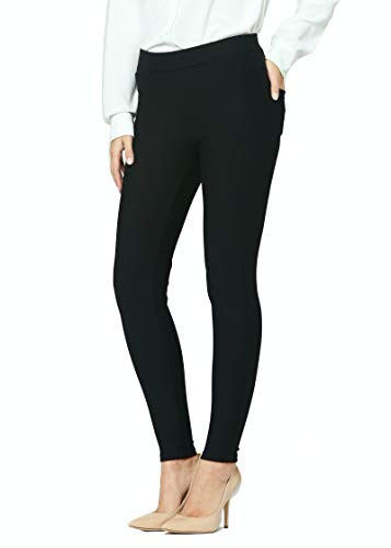 Premium Women's Stretch Dress Pants - Wear to Work - Ponte Treggings - Ponte - Inspire Black - Large - MS-1000-Black-L