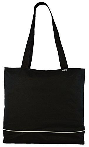 Shoulder Tote Bag with Zipper, Black