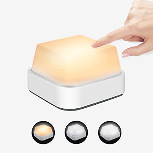 Luz Nocturna Infantil, luz nocturna LED 3 colores 15 modos ajustable brillos luz quitamiedos infantil USB recargable lampara infantil Magnético descompresión regalo para Niños Bebés adultos,Blanco