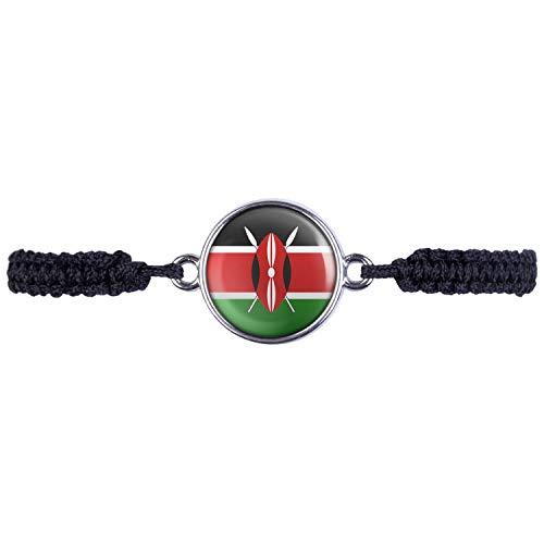 Mylery Armband mit Motiv Kenia Kenya Nairobi Flagge Silber 16mm