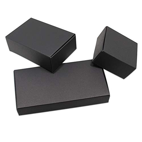 FHFF Kraft Papieren Tas 20 Stks/partij Zwart Karton Papieren Dozen Blank Kraft Papier Doos Vouwen Handgemaakte Zeep Sieraden 13.3X7.8X1.8Cm