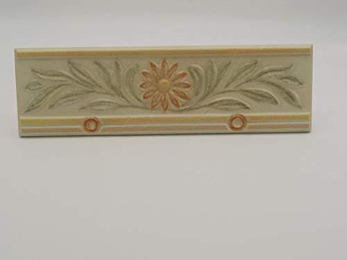 Listello Greca Decoro Floreale In Ceramica Art. 31029 - Rivestimento Bagno - Cm 10 X 33 Spessore 8 Mm - N° 3 Pezzi