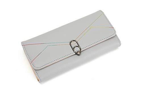 LIBILAA Dames Lange Portemonnee Koppeling Tri-fold PU Portemonnee Eenvoudige Dames Handtas Donkerblauw Roze Geel Grijs