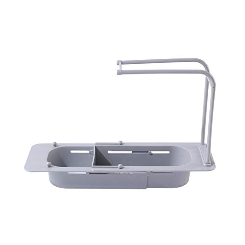 DASNTERED Soporte telescópico para fregadero, longitud ajustable, organizador de esponja para uso en el hogar y la cocina