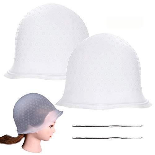 Paquete de 2 gorras para resaltar el cabello, con gancho de metal, herramienta para teñir el cabello para mujeres y niñas