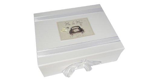 White Cotton Cards Boîte à souvenir de mariage Motif voiture Inscription Mr and Mrs Wedding Grand