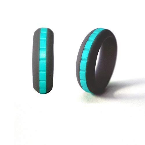 UANDM siliconen ringen, afneembare herenring met wisselende kleuren, voor mannen en vrouwen, voor yoga, 8 mm breed, vlakke combinatie
