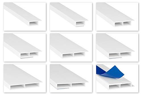 HEXIM Fenster/PVC Deckleisten 7mm - Hohlkammerprofile, wahlweise mit Schaumklebeband (selbstklebend) und Überstand für Wandabschluss (Fahne) - 2 Meter je Leiste (30x7mm, HJ 202-SKS)