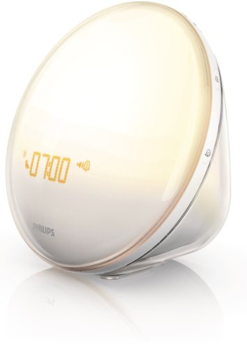 Philips HF3520/60 Wake-Up Light Therapy Alarm Clock with Colored Sunrise Simulation and Sunset Fading Night Light, White