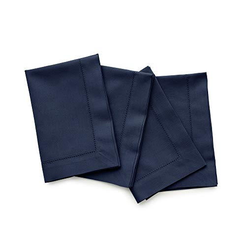 Solino Home Hemstitch Cotton Linen Dinner Napkins - Set of 4, 20 x 20 Inch Navy Natural Fabric - Machine Washable Handcrafted with Mitered Corners