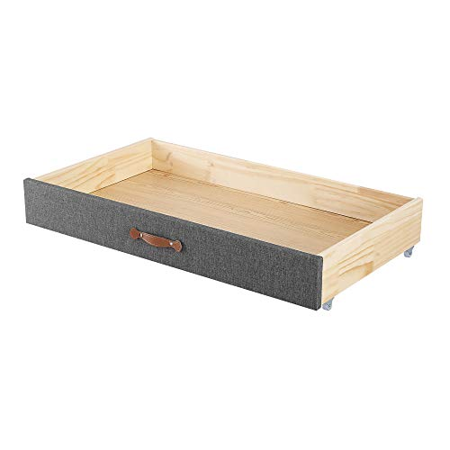 MUSEHOMEINC Upholstered Solid Wood Under Bed Storage Organizer Drawer with 4-Wheels for BedroomLeather HandleWooden Underbed Storage OrganizerSuggested for Queen and King Size Platform Bed