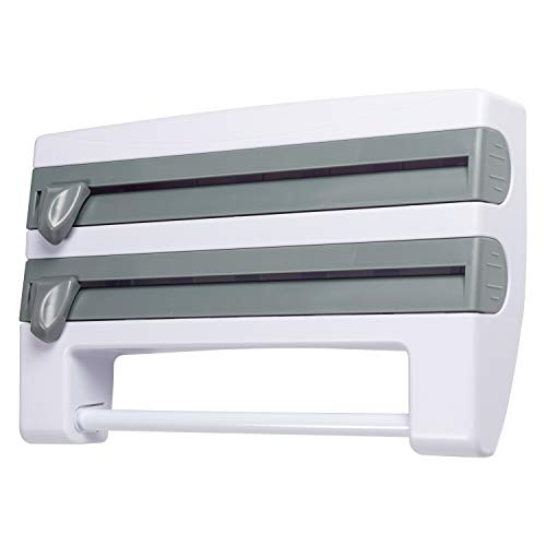 4-in-1 Plastic Multifunction Film Storage Rack Cutter for Kitchen Improved Dispenser for Cling Wrap Aluminum Tin Foil Kitchen Towel Holder and Condiment Bottles Shelf Easy Wall Mount