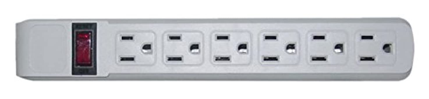 C&E Surge Protector, Flat Rotating Plug, 6 Outlet, Horizontal Outlets, Plastic, Power Cord, 4 Feet - Gray, CNE470882
