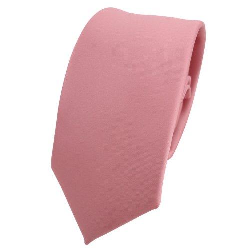 TigerTie schmale Satin Krawatte in rosa altrosa einfarbig uni