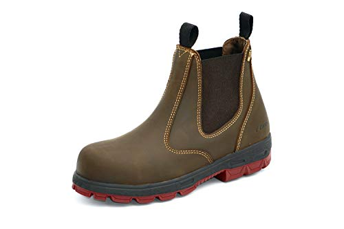Australian Safety ENred Hobo Leder Boots mit Sicherheitskappe - Brown (Numeric_44)