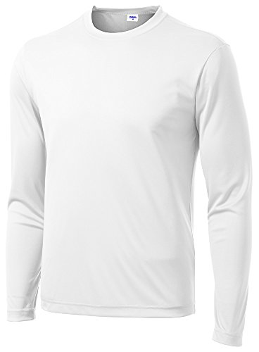 Opna Men's Long Sleeve Moisture Wicking Athletic Shirts White-M