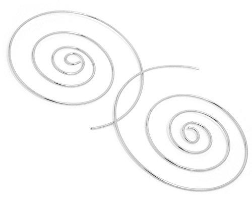 2LIVEfor Ohrringe Creolen Silber Gold Groß 50 mm Ohrhänger Design Spirale Schnecke Hoop Creole Rund Ethno Style (Silber)