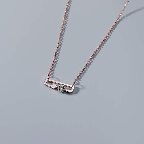 N/A Collar Colgante Flecha Colgante Collar de Plumas Cristal de Acero Inoxidable Cadena en Forma de O Mujer cumpleaños día de San Valentín joyería de Fiesta Regalo de cumpleaños de Navidad