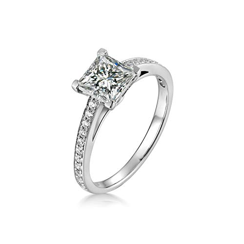Aimsie Women's Ring, Square Silver Rings 925 Silver with Cubic Zirconia Engagement Rings in Gold Silver silver