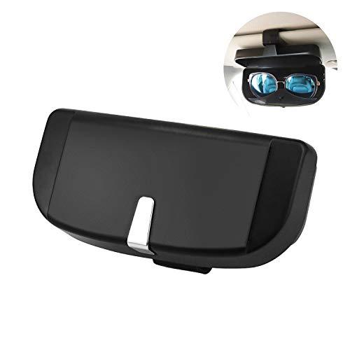 KARAA Custodia per Occhiali, Scatola per Occhiali da Sole per Auto Universale con Magnete e Porta Carte, Multifunzione Scatola per Organizer per Aletta Parasole