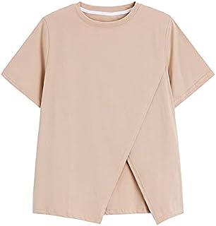 Fyuanmeiinsdxnv Womens tops summer O-neck Short-Sleeved Blouse Summer Schism Hem Design Casual Fashion Women's Solid Colou...