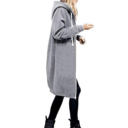 Donna Felpa Spessa di Moda Maniche Lunghe Donne Casuale Felpe con Cappuccio con Zip Autunno E Inverno Lunga e Tasche Pullover