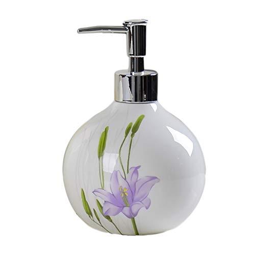 Distributeur de Savon 550 ML en céramique créatif Distributeur de Savon Manuel Savon Douche Gel ménage ménage Salle de Bain shampooing Distributeur de Savon (Color : E)