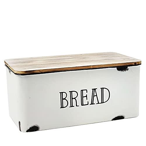 AVV Farmhouse Bread Box for Kitchen Countertop Metal White Loaf of Bread Storage Container Large Vintage Bin Retro Rustic Counter Breadbox