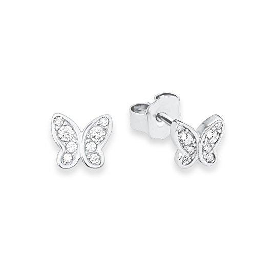 s.Oliver Ohrstecker für Mädchen Schmetterling, 925er Sterling Silber rhodiniert