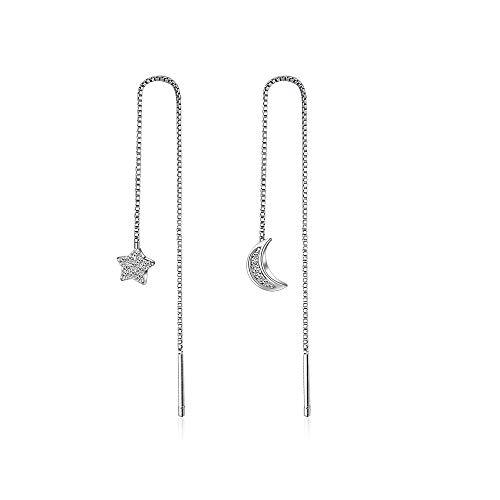 Orecchini pendenti lunghi in cristallo luna stelle Gioielli Orecchini pendenti asimmetrici in metallo