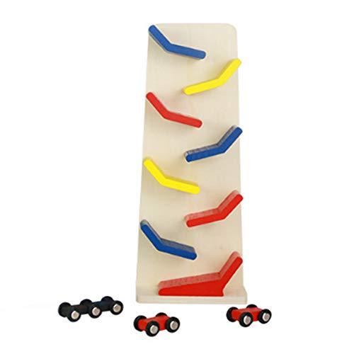 Newin Star Kinder Holz Spielzeug 3 Fahrzeuge mit Autorennbahn Kinder Autospiel Spielzeug für Kleinkinder