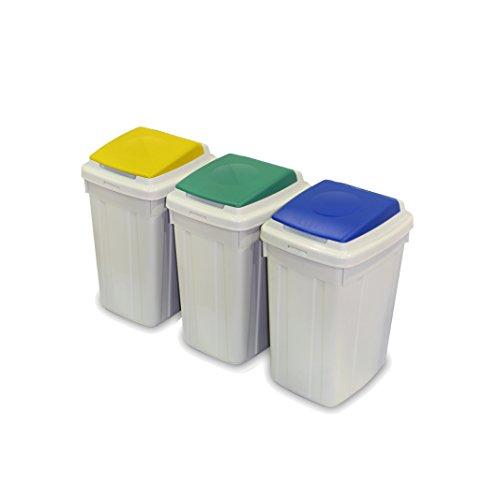 CERVIC - Papelera Eco-Lid 42L Set De 3 Papeleras (Azul, Amarillo Y Verde), Talla 39 X 32 X 58 Cm Cada Papelera