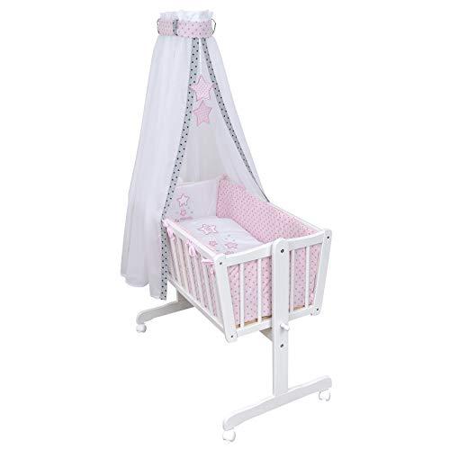 Baby Delux Babywiege Komplettwiegenset Stubenwagen mit Wiegenset Magic Stars rosa inkl. kompletter Ausstattung und Bettwäsche