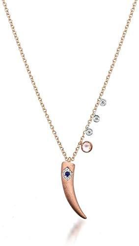 N-G Plateado Oro Rosa Rosa Blanco cz Ojo Malvado Cuerno Colgante Encanto declaración Collar de Mujer Collar